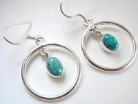 Blue Turquoise Oval Hoop Dangle Earrings 925 Sterling Silver New