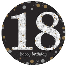 "18th Birthday Black Personalised Cake Topper Edible Wafer Paper 7.5"" Boy Girl"