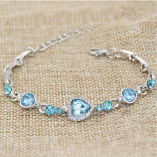 Women Jewelry Stainless Steel Crystal Heart Style Charm Chain Bracelet 12 Colors