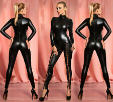 Sexy PVC Overall Domination Fetish Gothic super Bodysuit Jumpsuit clubwear 8-12