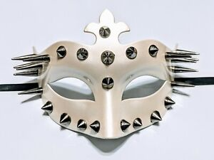 """MSK72213 6.3"""" White Studded Mask Halloween Masquerade Party  Goth Dungeon"""