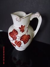 "ANTIQUE FAIENCE MAJOLICA 7 1/2"" TALL RED GRAPES PITCHER"