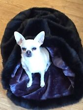 CHIHUAHUA PUG PUPPY CAT BED BLACK LUXURY FAUX FUR SNUGGLE SACK SLEEPING BAG