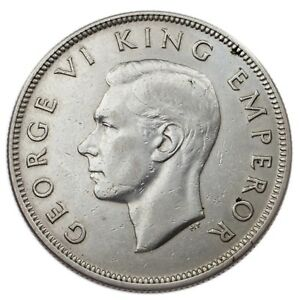 1937 New Zealand Silver 1/2 Crown in XF Condition KM# 11