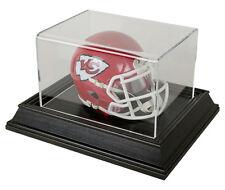 Mini Football or Mini Football Helmet Display Case with Wood Base - Black