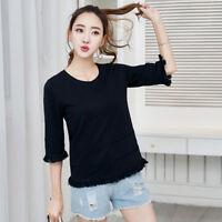 Womens Ladies Casual 3/4 Sleeve Tops Shirt Crew Neck Cotton Tshirt Blouse Tee