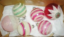6 Vintage Unsilvered Wwii World War 2 Christmas Ornaments Mica Glitter Frosted
