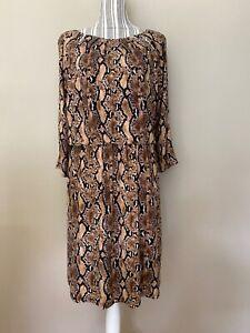 Thalia Sodi woman's Brown multi Animal Print Cutouts A line Dress size Large