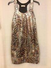 Sparkly Silver/Gold/Black Sequinned River Island Dress- Size 6/8