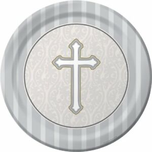 8-Count Round Dinner Plates, Silver Devotion Cross