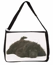 Miniature Poodle Dog Large Black Laptop Shoulder Bag School/College, AD-POD9SB
