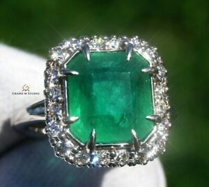Emerald Ring Gold Diamond Natural Zambian 5.74CTW GIA Certified RETAIL $12700