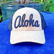 Cork curved billed and black mesh Hat with 3D embroidered Aloha Free Shipping