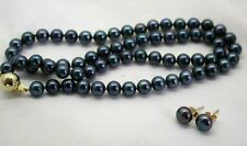 Vintage String Of Deep Blue Cultured Pearls 9ct Gold Clasp And Matching Earrings