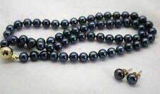 Vintage De Cuerda De Azul Profundo las Perlas cultivadas de 9 quilates broche de oro y Pendientes Haciendo Juego