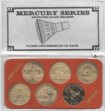 "NASA Project Mercury Series Antique 1.5""Bronze Minted (6) Coin Commemorative Set"