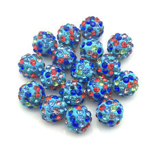 20Pcs Mixed Color Micro Pave Disco Ball Crystal Shamballa Beads Bracelet Spacer