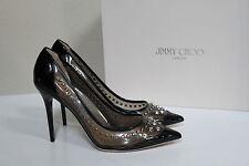 New sz 7.5 / 37.5 Jimmy Choo Sparkler Black Patent Point Toe Studded Pump Shoes