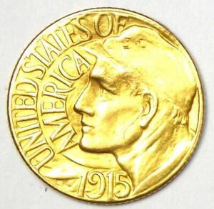 1915-S Panama Pacific Gold Dollar Pan-Pac G$1 Coin - AU Details (Damage)