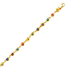 14K Solid Yellow Gold Multi-Color Evil Eye Bracelet - Good Luck Charm Chain Link
