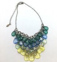 Pier 1 Imports Colorful Unique Dangle Glass Bead Silvertone Chain Necklace Bib