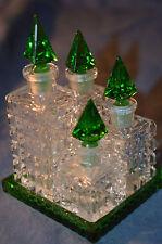 SIGNED CZECHOSLOVAKIA  CUT GLASS PERFUME BOTTLE SET OF (4) W/ Base STOPPER