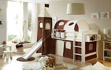 Lit mezzanine avec toboggan et tour TOBY R Hêtre massif teinté blanc tissus Marr