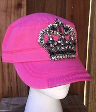 New Olive & Pique Bling Crown Hot Pink Cadet Style Hat