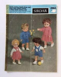 """Sirdar 2068, 3 piece set for Baby Doll - Doll sizes: 10"""", 12"""", 14"""", 16"""", Vintage"""