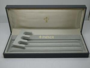 Vintage Grey Empty Parker Pen Box (Suitable for 3 pens,pencils,Biro etc) VGC