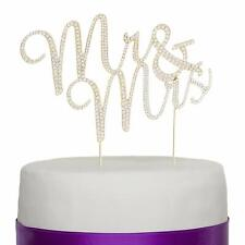 Mr & Mrs Gold Wedding Cake Topper - Rhinestone Diamond Monogram Decoration