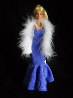 White Fringe Boa 14 inch Handmade Wrap Shawl Scarf for Barbie doll fashion FR