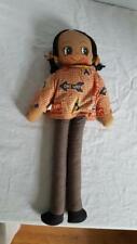 "18""Famus Corp Black Brown Vintage Rag Cloth Soft Doll,Collectible,Ornate,"