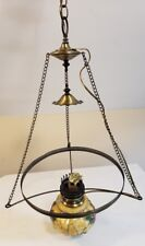 Vintage Quiozel Brass and Flower Art Glass Chandelier