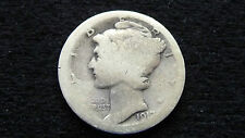 1917-P MERCURY SILVER DIME IN ALMOST GOOD CONDITION D-9-16