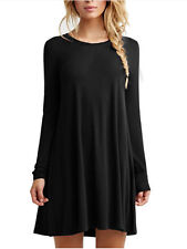 7 Color Women's Plain Long Sleeve Round Neck Tunic T-Shirt Loose Mini Dress