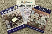 3 Jeanette Crews Designs Omnibook Bunnies Bees Bible Verses Cross Stitch Vtg Lot