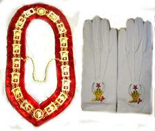 MASONIC REGALIA SHRINER NEW DRESS METAL COLLAR RED VELVET & GLOVES PAIR CP MADE