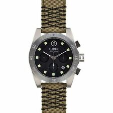 Electric DW01 Mens Chronograph Watch Black Dial Olive Nylon Band Contrast Stitch