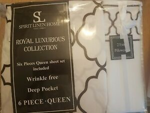 Deep pocket Queen size Spirit linen Home sheets Royal luxurious collection new