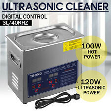 Stainless Steel Industry Ultrasonic Cleaner 3L Heated Heater w/Timer USA