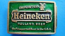 Vintage Imported HEINEKEN LAGER BEER BELT BUCKLE, BREWED IN HOLLAND Made USA