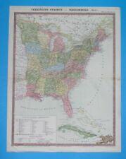1862 UNUSUAL ORIGINAL MAP PENNSYLVANIA NEW YORK FLORIDA GEORGIA LOUISIANA CUBA
