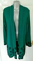 ❤ PER UNA Ladies Size 16 Black Dark Petrol Open Lagenlook Cardigan Top VGC