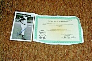 """Ted Williams 3/1/2 by 5 """" Autographed Photo with COA From Grand Slam Mkting"""