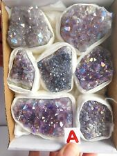 More details for box celestial amethyst aura druzy crystal point clusters ab dark lavender colour