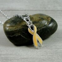 Peach Awareness Ribbon Necklace - Silver & Peach Uterine Cancer Awareness Charm