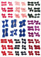 Pair of Girls Kids Small Hair Bow Clips Slides Gripes - School Uniform Colours