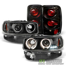 Black 2001-2006 GMC Yukon Denali XL Halo Headlights +Bumper Lamp+Tail Lights Set