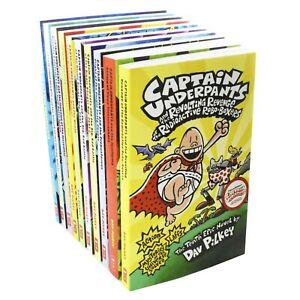 Captain Underpants 10 Books Children Collection Paperback Set By Dav Pilkey